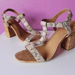 NWOT Calvin Klein Snake Print Block Heels, size 10